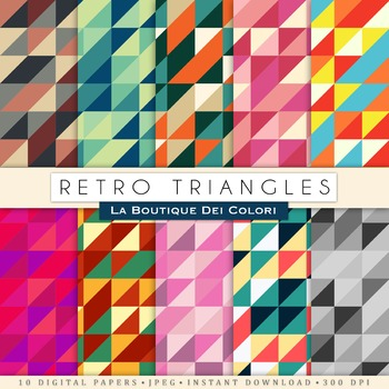Retro Digital Paper Pack, scrapbook backgrounds