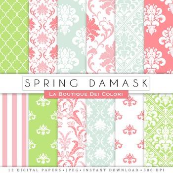Spring Damask Digital Paper, scrapbook backgrounds