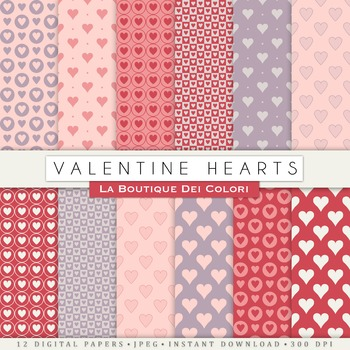 Valentine's day Digital Paper, scrapbook backgrounds