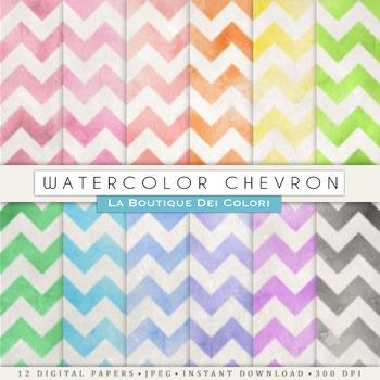 Watercolor Chevron Digital Paper, scrapbook backgrounds