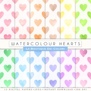 Watercolor heatrs Digital Paper, scrapbook backgrounds