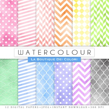 Seamless Watercolor Patterns Digital Paper, scrapbook backgrounds