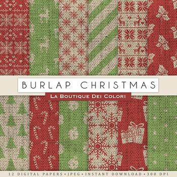 Burlap Christmas Digital Paper, scrapbook backgrounds