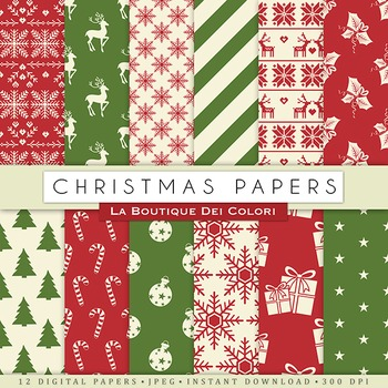 Red and Green Christmas Digital Paper, scrapbook backgrounds