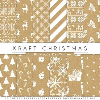 Kraft Christmas Digital Paper, scrapbook backgrounds