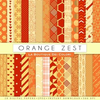Orange Zest Digital Paper, scrapbook backgrounds