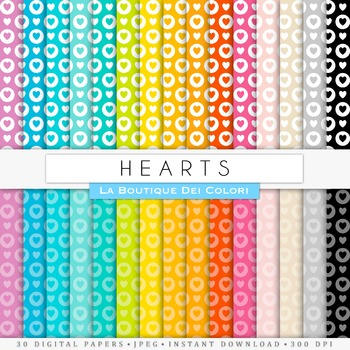 Rainbow Hearts & Circles Digital Papers, scrapbook backgrounds