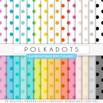 Rainbow Big Polkadots Digital Paper, scrapbook backgrounds