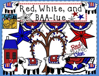 Red White and Blue Patriotic Sheep Clip Art Kid-E-Clips Pe