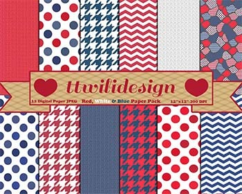 Red, White and Blue digital paper, commercial use, scrapbo