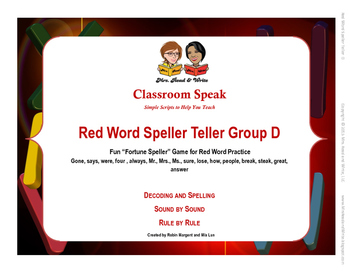 Red Word Speller Teller Word Group D