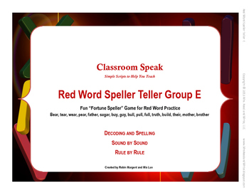 Red Word Speller Teller Word Group F