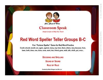 Red Word Speller Teller Word Groups B-C