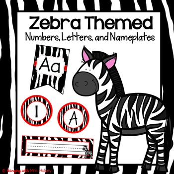Editable Zebra Numbers, Letters, and Nameplates (Red Theme)
