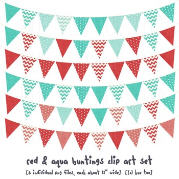 Red and Aqua Bunting Clip Art, Red and Blue Pennant Flags