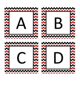 Red and Black Chevron Boggle Letters