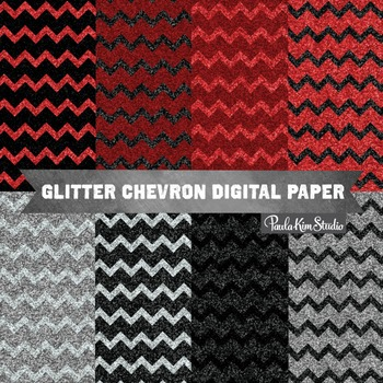 Digital Paper - Red Black Chevron Glitter
