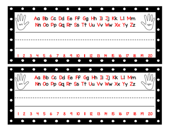 Red and Black Polka Dot Name Tags