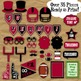Red and Black School Colors Football Photo Booth Props and