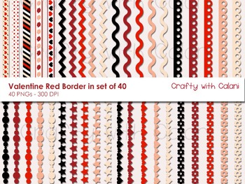 Red and Black Valentine Theme Borders