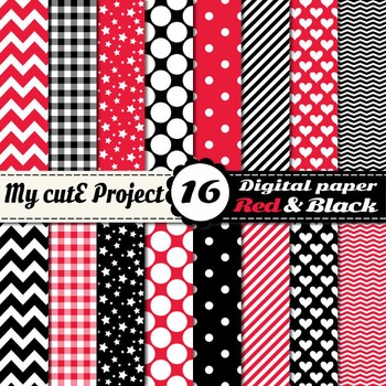 Red and Black and red DIGITAL PAPER - Scrapbooking- A4 & 1