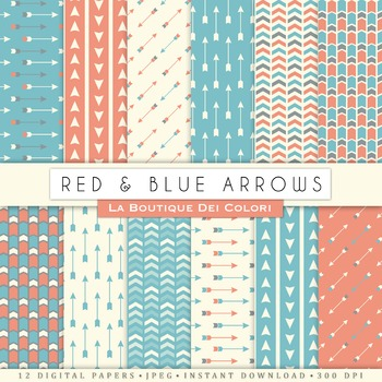 Red and Blue Arrows Digital Paper, scrapbook backgrounds