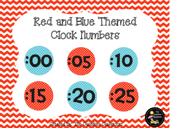 Red and Blue Themed Clock Numbers