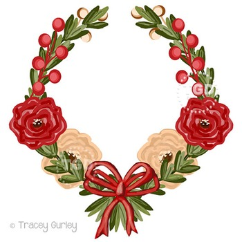 Red and Cream flowers Wreath clip art, Printable Tracey Gu