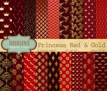 Red and Gold fairy princess digital paper backgrounds