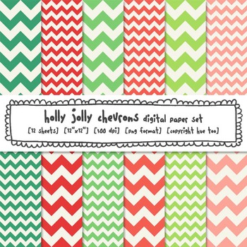 Red and Green Chevron Digital Paper Backgrounds, Christmas