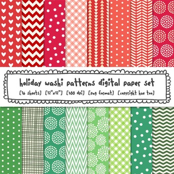 Red and Green Digital Paper, Christmas Patterns Digital Ba