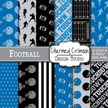 Red and Navy Blue Football Digital Paper 1443