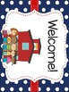 Red and Navy Patterns Classroom Theme Kit- EDITABLE (Nauti