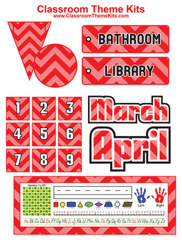 Red and Pink Chevron Zig Zag Classroom Theme Kit
