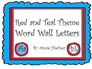 Red and Teal Theme Word Wall Letters- Regular Font