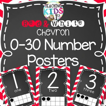 Red and White Chevron 0-30 Number Posters with tens frames