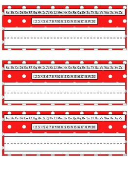 Red and White Polka Dot Desk Name Tags