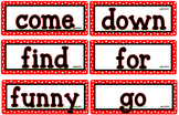 Red and White Polka Dot Dolch Word Wall Cards Pre-Primer -