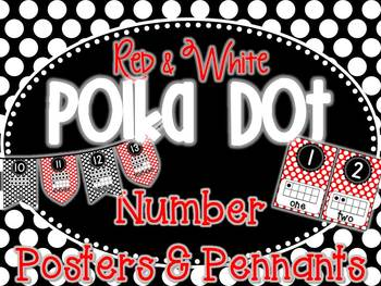 Red and White Polka Dot Number Posters & Pennants
