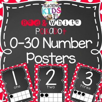 Red and White Polkadot 0-30 Number Posters with tens frames