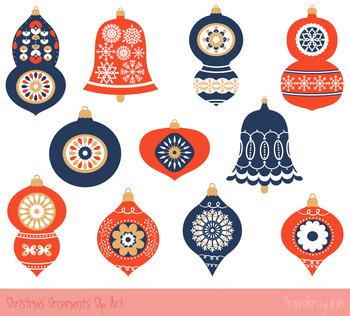Red blue Christmas ornaments clipart set, Winter clip art,