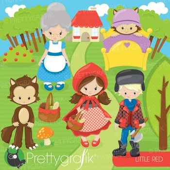 Red riding hood clipart commercial use, graphics, digital