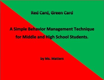 Red/Green Cue Card:  Simple Behavior Management for Second