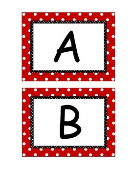 Red/White polka dot Alphabet