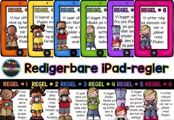 Redigerbare regelplakater for iPad