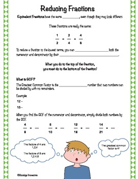 Reducing Fractions Guided Notes Sheet