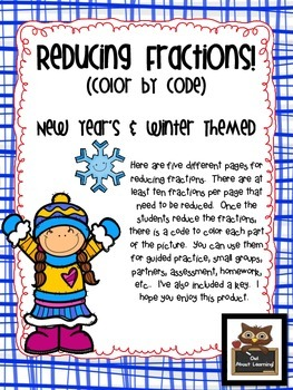 Reducing Fractions:  Winter and New Year's Themed Color by
