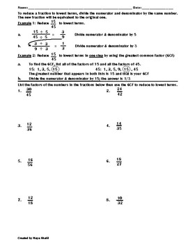 Reducing Fractions to Lowest Terms (Simplest Form) Worksheet