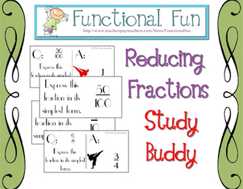 Reducing Fractions to Simplest Terms Study Buddy Cards