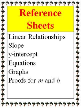 Reference - Linear Relationships, Slope, Y-intercept, Equa